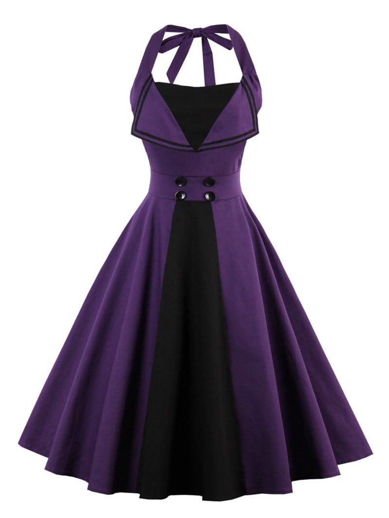 Halter Backless Buttoned Vintage Dress | Vestidos clásicos, Ropa ...