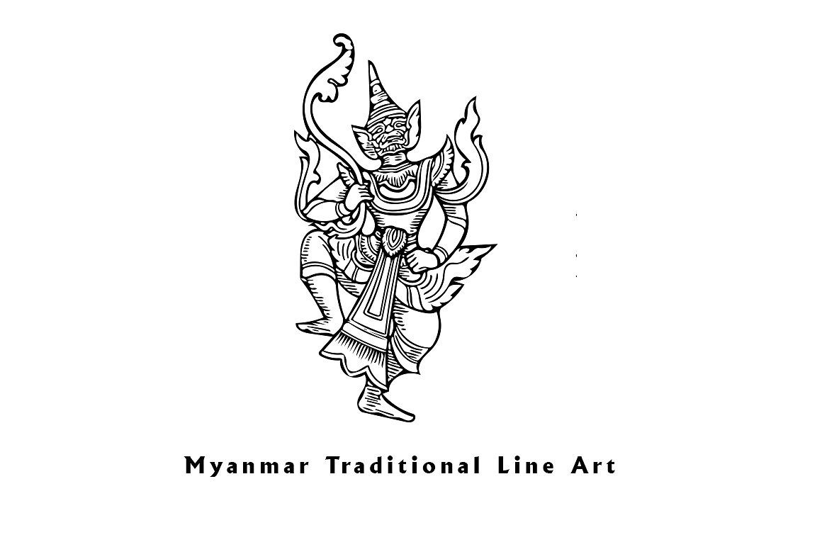 Myanmar Traditional Line Art By Nyinyisoewin On Creativemarket