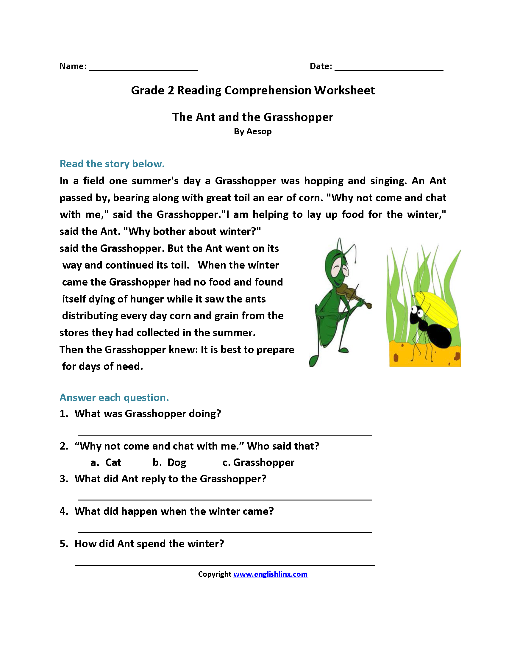 - Second Grade Reading Worksheets Reading Comprehension Worksheets