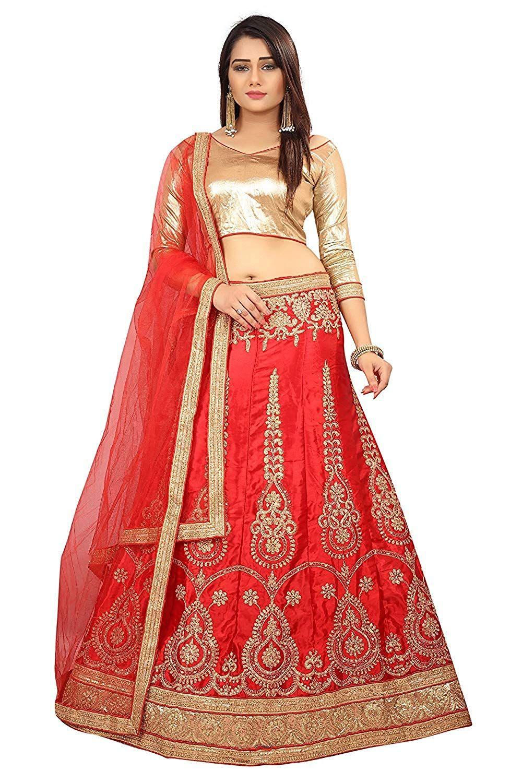2cb53c0fb2c STORE HUB Women s Net Unstitched Lehenga Choli (Red   Gold)  Amazon.in   Clothing   Accessories