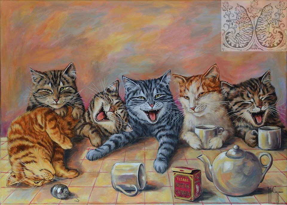 Catnip tea party... Cats illustration, Cat art