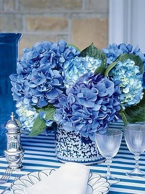 True Blue And White Table Setting Hydrangeas Stripe Tablecloth Vase