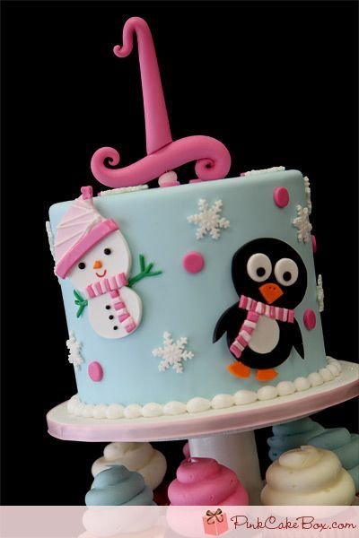 1st Birthday Winter Cupcake Tower by Pink Cake Box in Denville NJ
