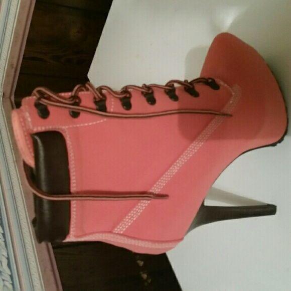 Melon nubuck bootie Stiletto heel Dollhouse Shoes Lace Up Boots