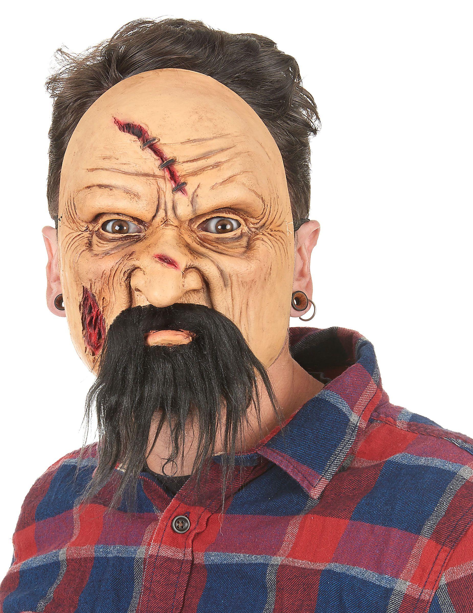 Maschera in lattice vecchio adulto: Questa semi-maschera in lattice di un vecchio ferito per adulto, rappresenta un cattivo uomo anziano, con un viso per niente simpatico.La maschera é tenuta in viso con un elastico, con una... #halloween #maschere #halloweenmaschere