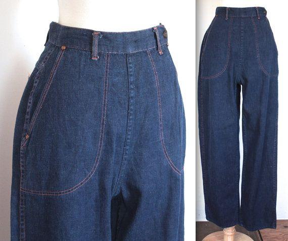 35526854a SALE Vintage 1940 s Jeans    40s 50s Indigo Blue Denim High Waist SR Jeans  with Orange Top Stich    DIVINE