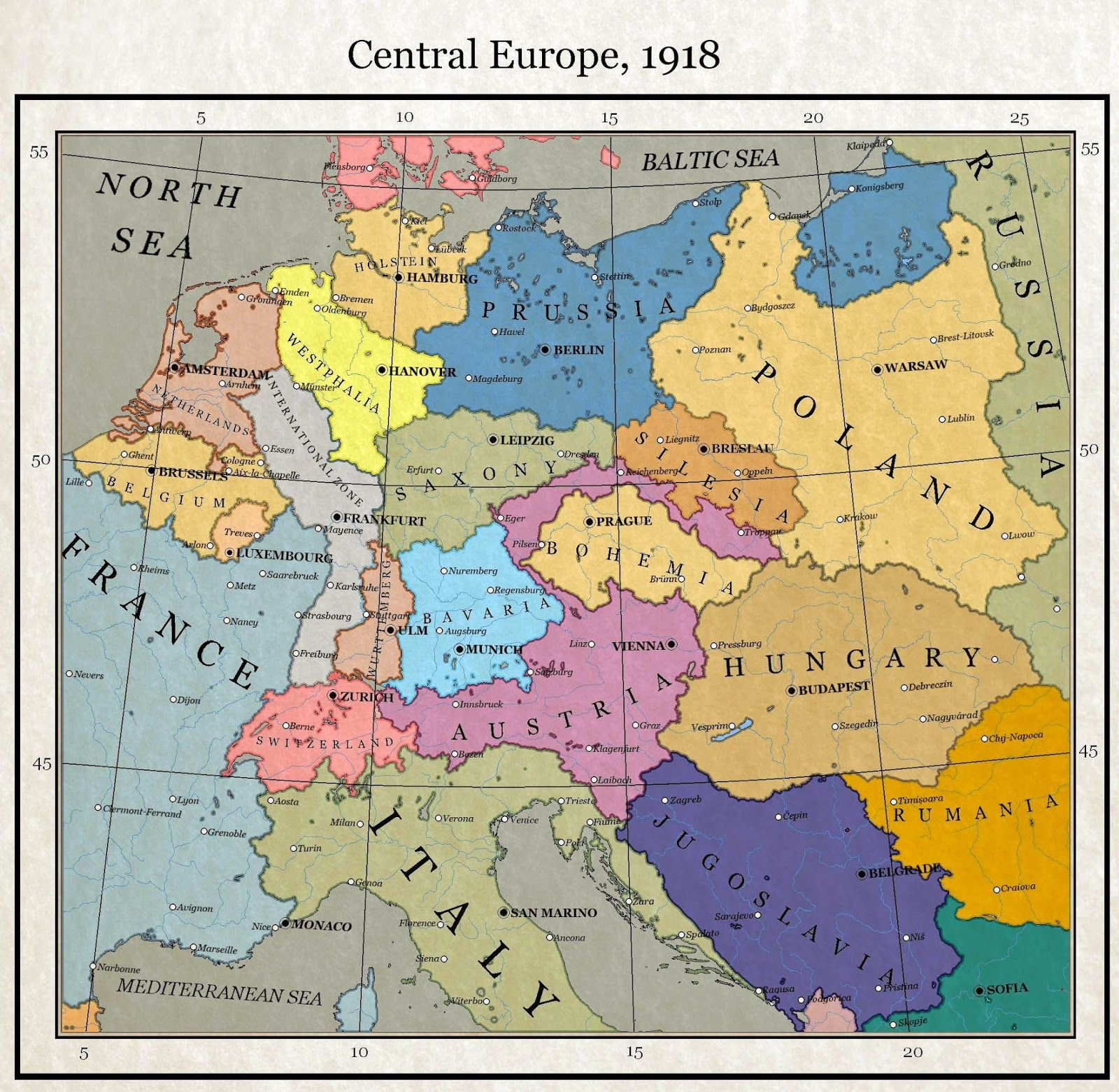 Central Europe 1918 | Maps | Pinterest | Map, Historical maps and ...
