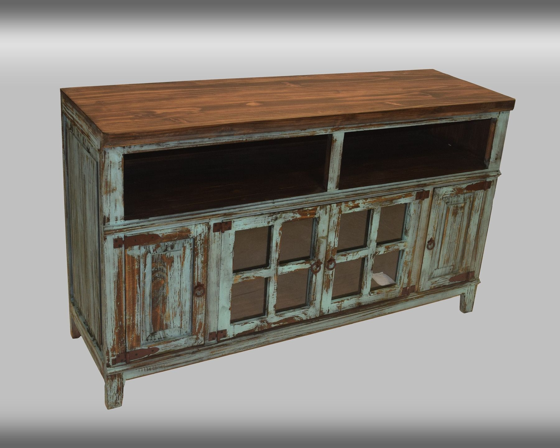 Rustic collection tv console antique black natural red rustic collection tv console antique black natural red turquoise white use coupon code freeship17 for free shipping geotapseo Image collections