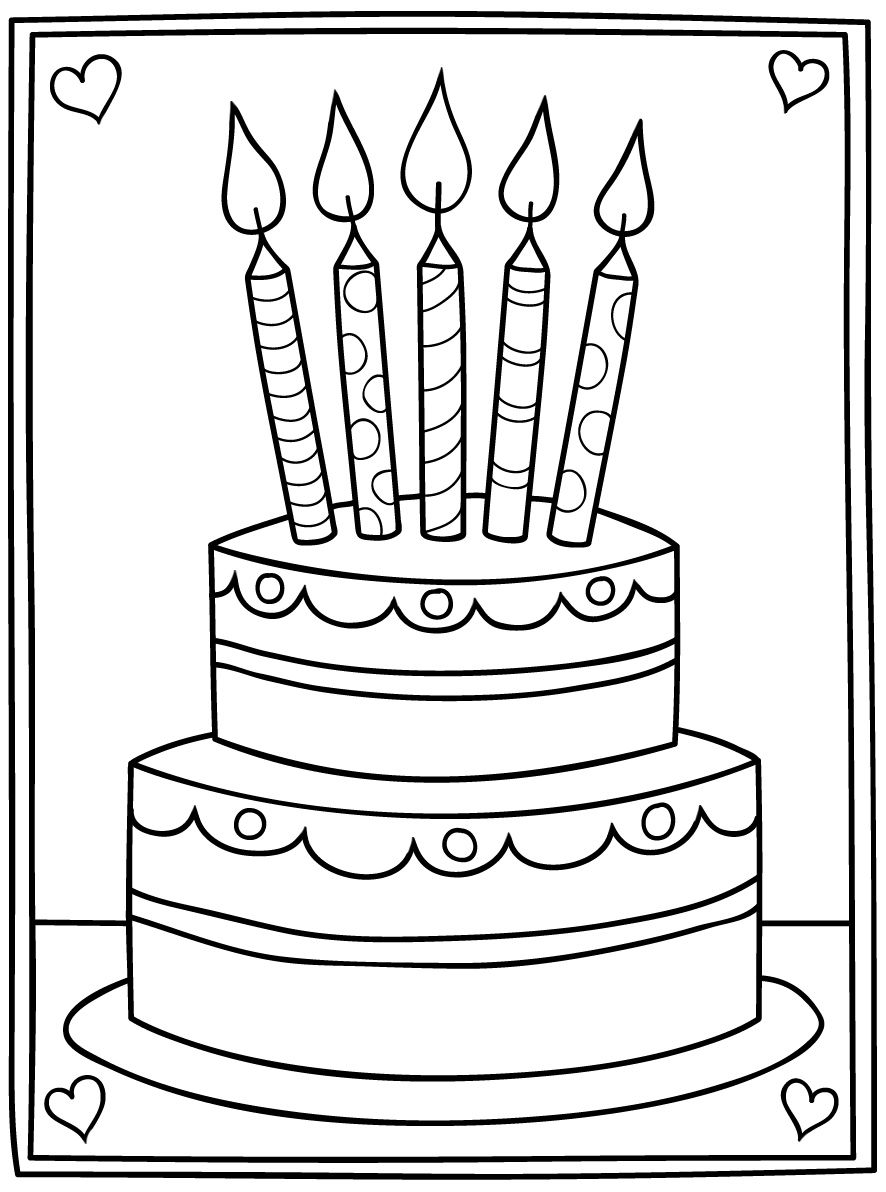 Cartoon Birthday Cake Digi Stamp | Cartoon birthday cake ...