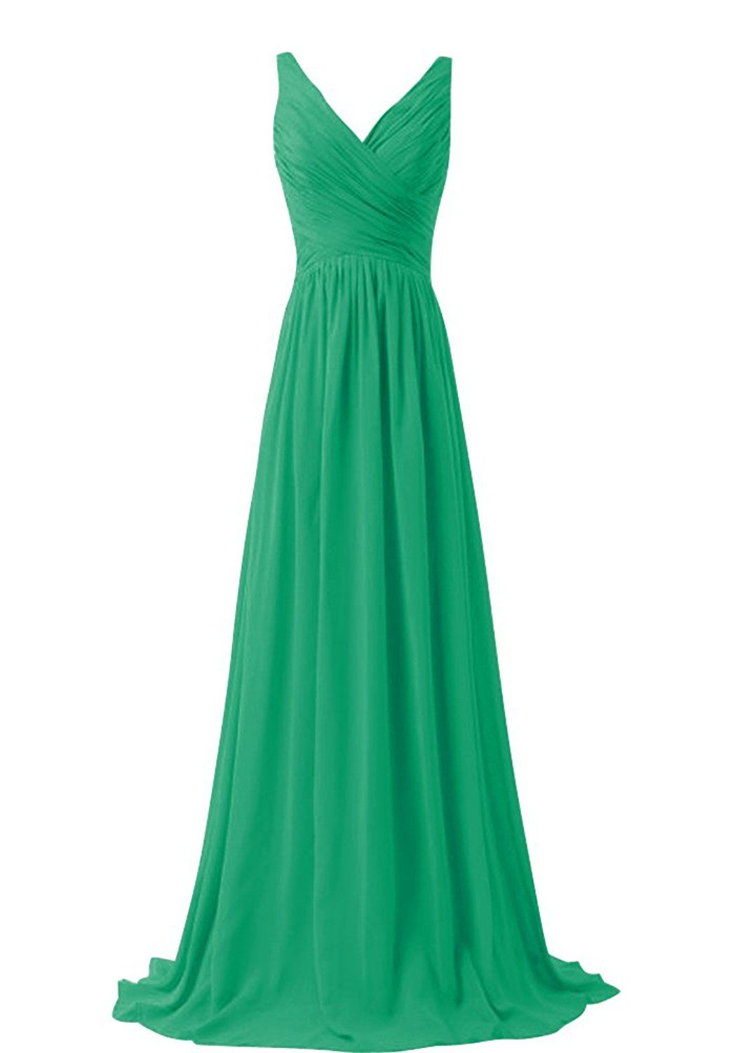 WeiYin Women\'s Chiffon V-neck Sleeveless Bridemaid Dresses Mint ...