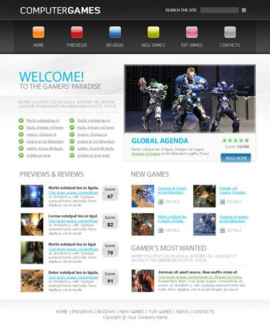 Free Games Website Template Css Templates Templates Website Template