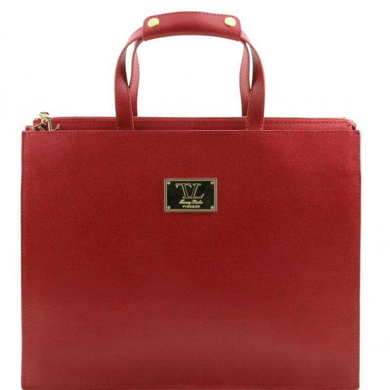 This saffiano leather ladies briefcase has 3 compartments Credit ...