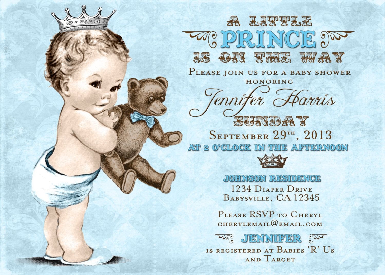 Teddy+Bear+Baby+Shower+Invitation+For+Boy+Prince++by+jjMcBean,+$ ...