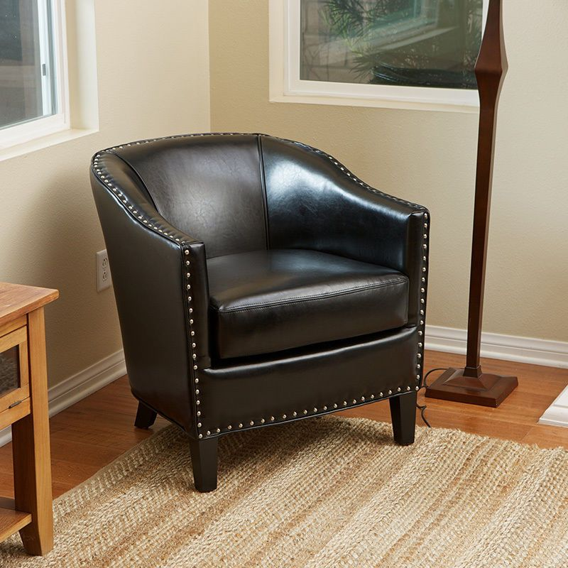 Elegant Tub Barrel Design Black Leather Club Chair With Nail