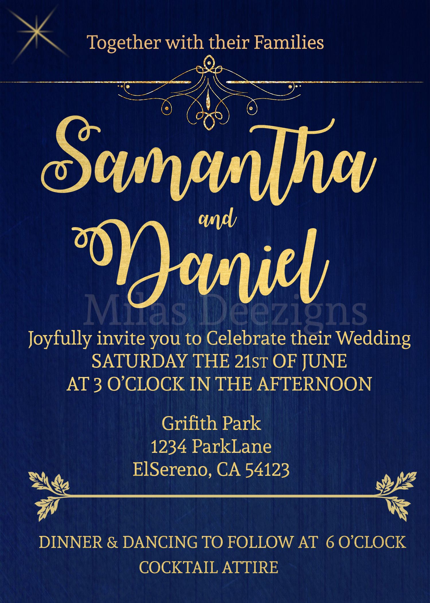 Blue & Gold Wedding invitation Printable File invitaciones