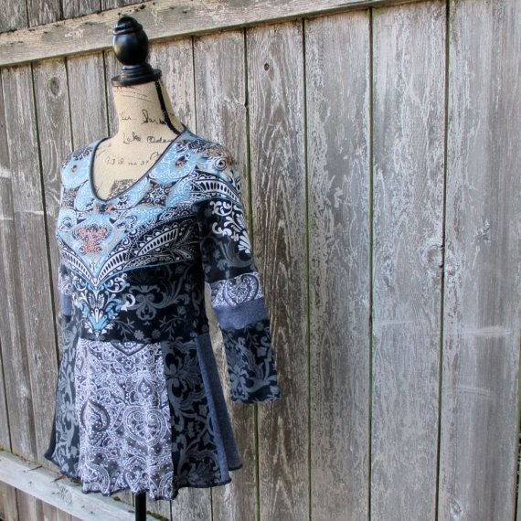 Upcycled Tunic Cotton ECO Recycled Tshirts by ThankfulRose on Etsy