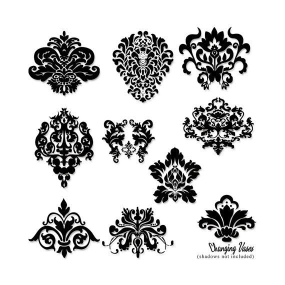 DOWNLOAD 10 Digital Damask Cilp art Silhouettes Clipart Scrapbooking Decorative Ornate Black Decorative Elements Commercial Use Overlay