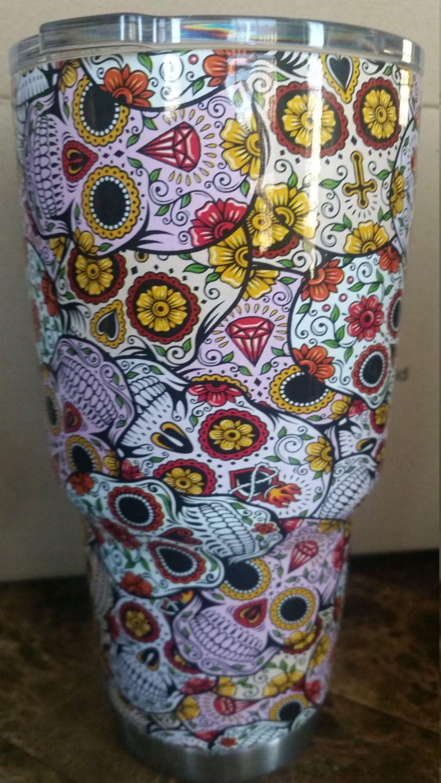 Yeti Cup Oz Dipped In Sugar Skull Pattern By SkinsandSkulls On - Sugar skull yeti cup