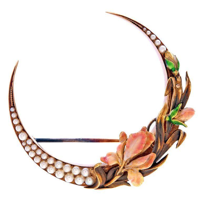 spectacular art nouveau enamel pearl gold flower brooch is part of Art nouveau jewelry - Spectacular Art Nouveau Enamel Pearl Gold Flower Brooch artNouveau Jewelry