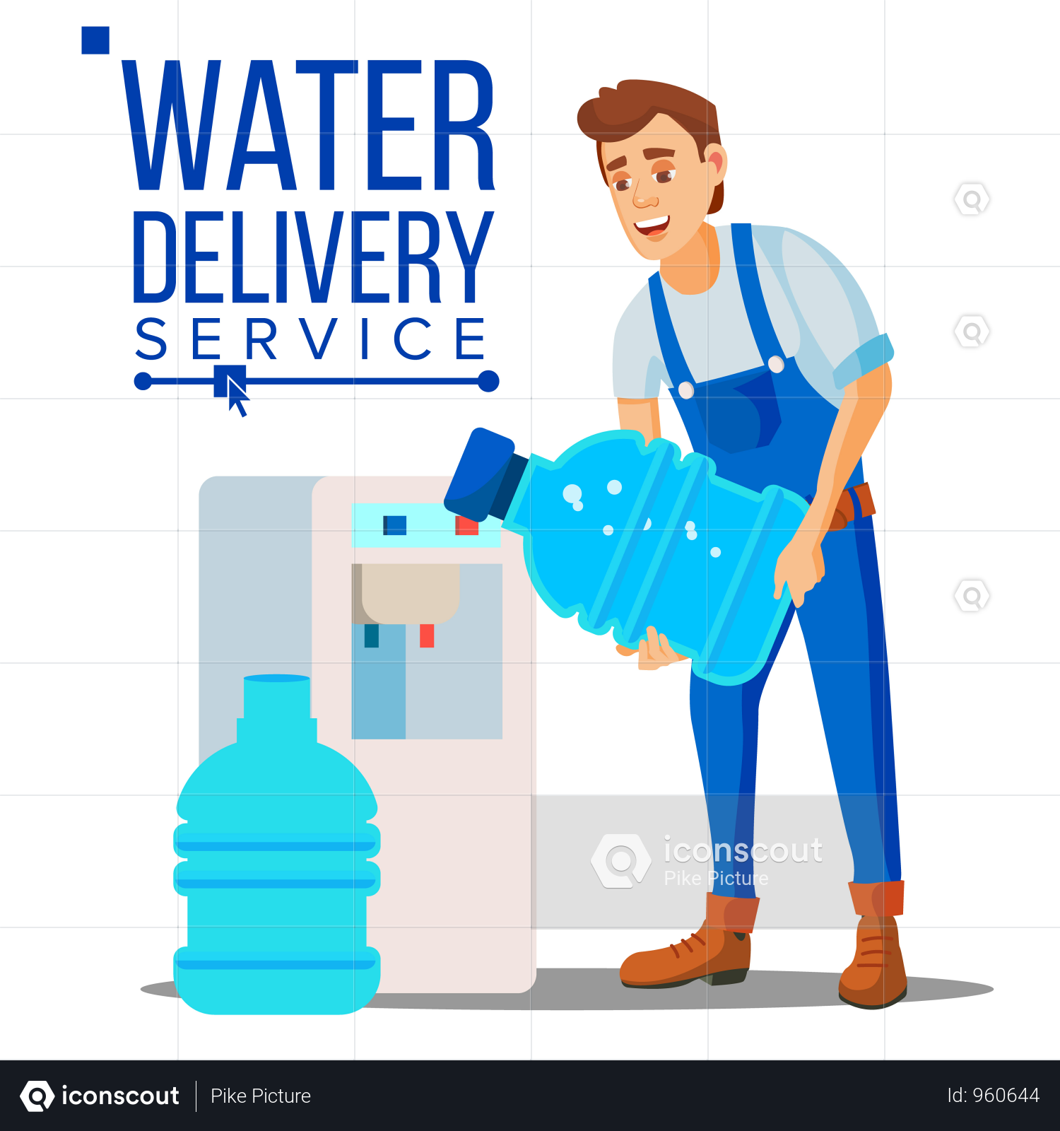 Premium Water Delivery Service Man Vector Illustration Download In Png Vector Format Water Delivery Service Water Delivery Delivery Service