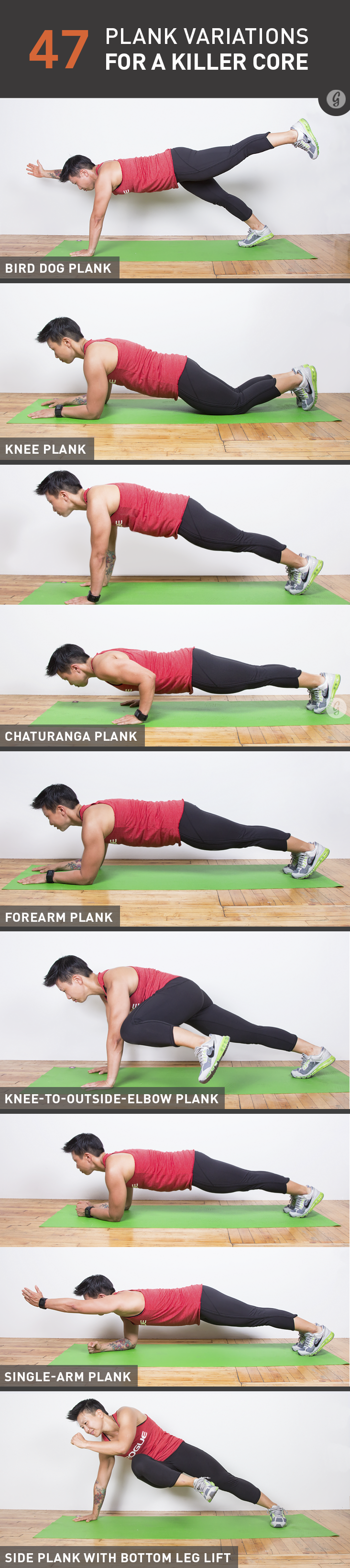 It's time to kiss those crunches good-bye. With nearly 50 ways to challenge your core and... http://greatist.com/move/plank-variations-for-core-strength