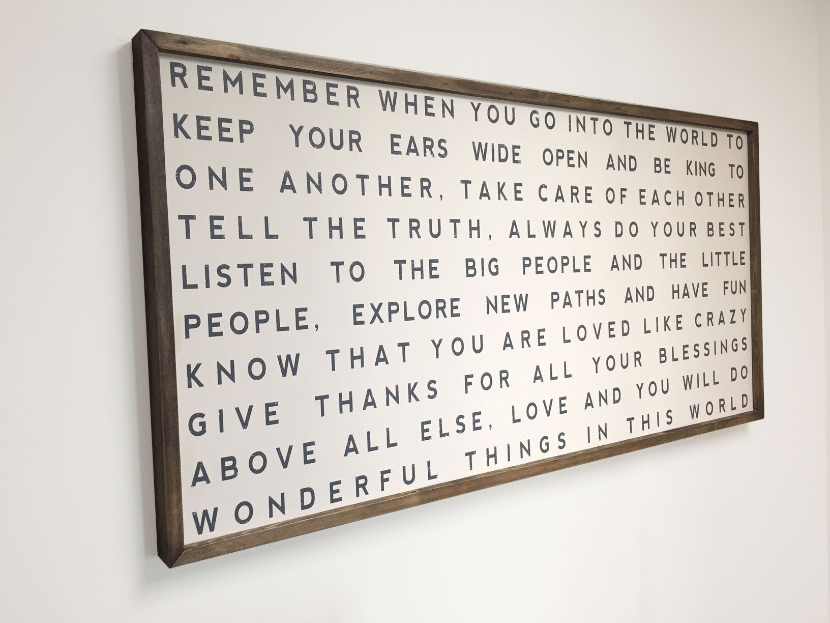 Framed Living Room, Family Room Wall Art, Family Rules, Remember When You Go Into The World, 48x24