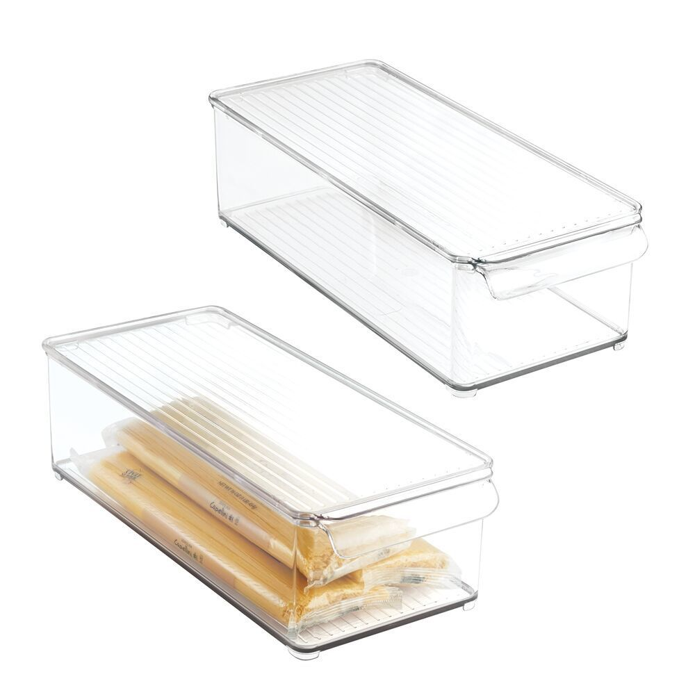 mDesign Plastic Food Storage Container Bin with Lid and Handle for Kitchen, Pantry, Cabinet, Fridge, Freezer - Organizer for Snacks, Produce, Vegetables, Pasta SMART STORAGE: This storage organizer fits boxed foods, condiments, spices, baking supplies, dr