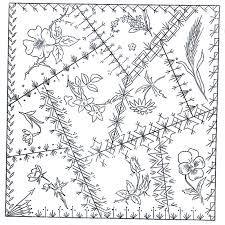 Crazy quilt block pattern - Betty Pillsbury  Green Spiral Herbs A Victorian Crazy Quilt block pattern.