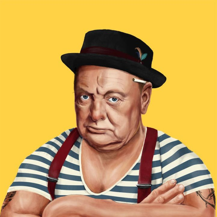 Winston Churchill by  designer Amit Shimoni- - World Leaders Hilariously Re-Imagined as Hipsters - My Modern Met