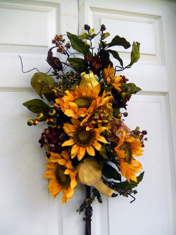 Summer/Fall Wreath  Fall  Wreath   Sunflower by forevermore1, $89.00