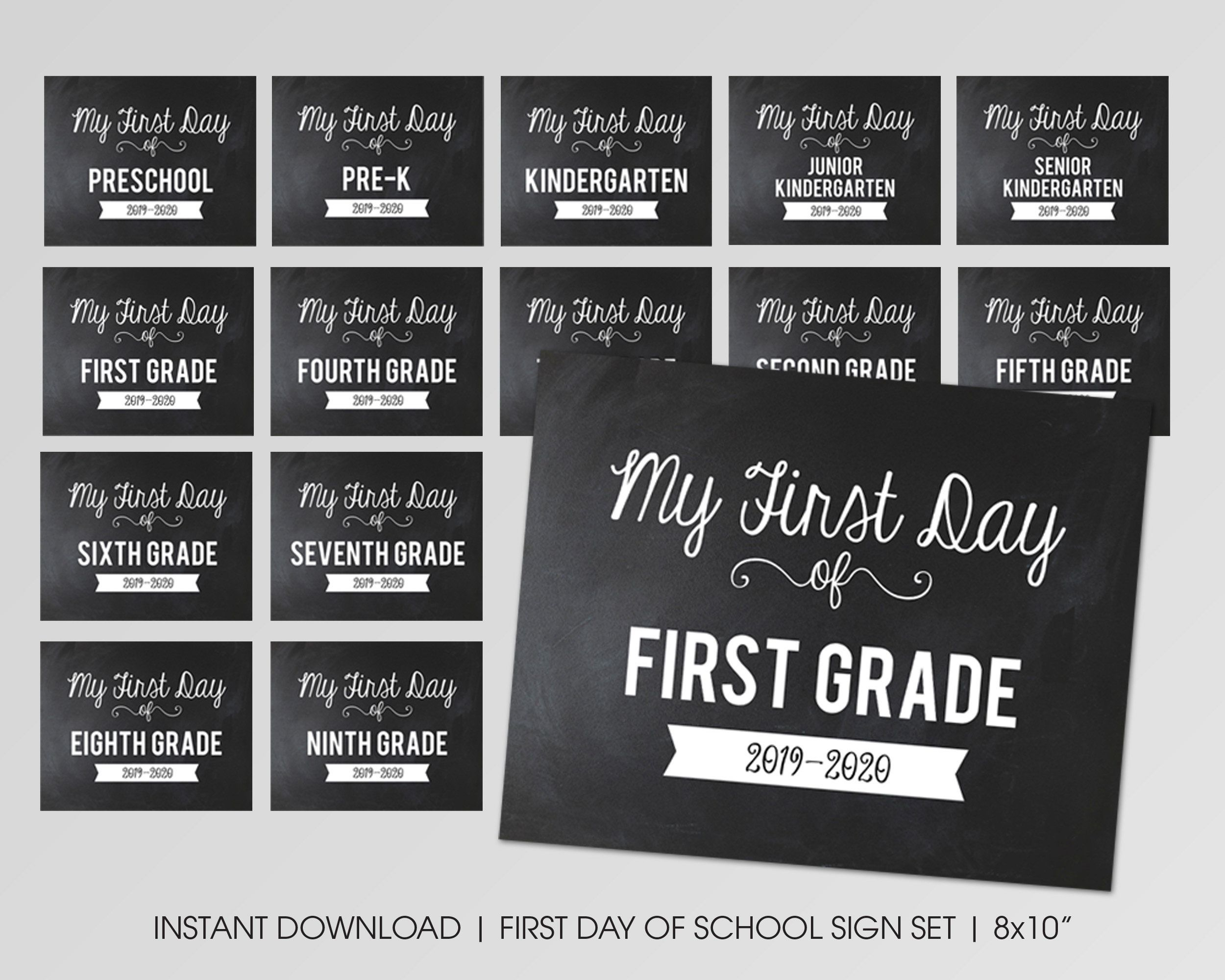 Printable First Day of School Sign - First Day of Sign Set - First Day of School Printable - Back to School Sign - Printable Photo Prop #firstdayofschoolsign
