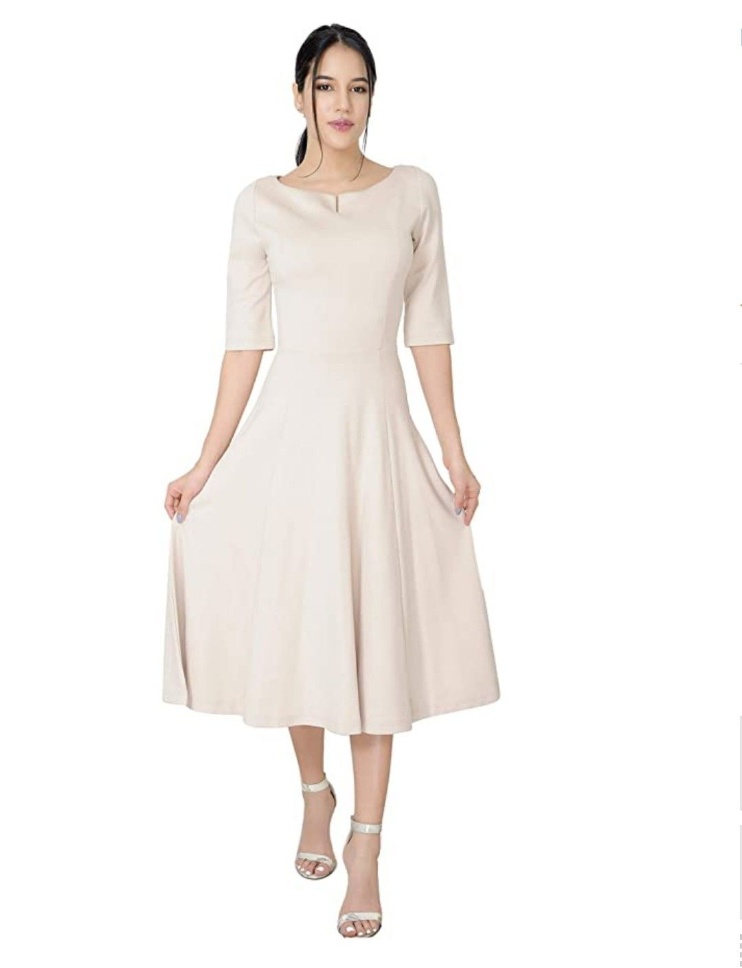 White Fit Flare Tea Midi Dress For Office Business Work Women S Casual Official Clothing Casual Women Clothes Elegant Fashion [ 1409 x 1080 Pixel ]