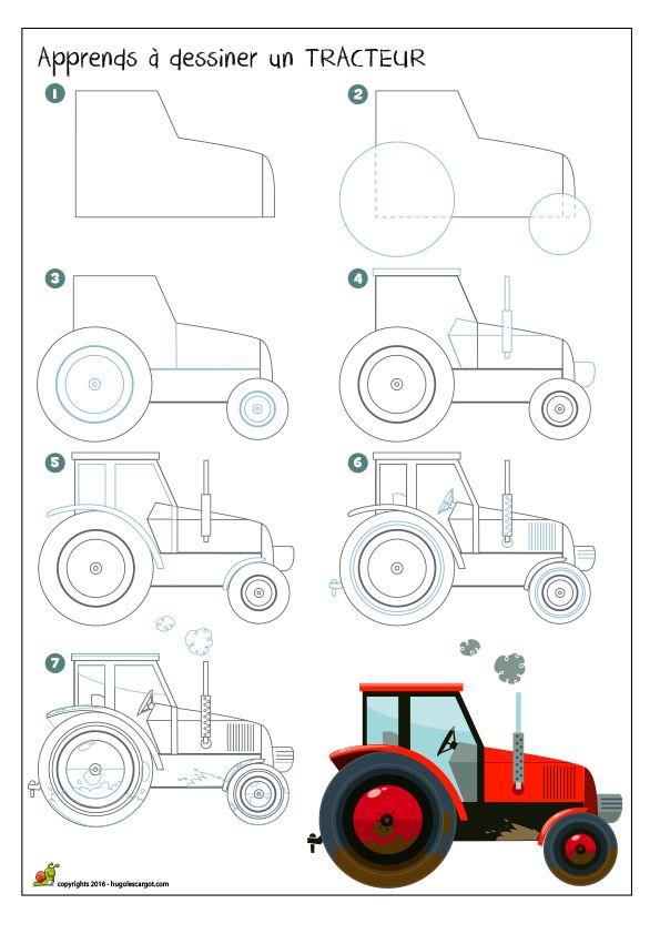 dessiner un tracteur how to draw pinterest tracteurs dessiner et dessin. Black Bedroom Furniture Sets. Home Design Ideas