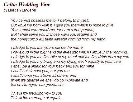 Celtic Wedding Vow Not Sure If I Like The Entire But Do Enjoy Several Of Verses