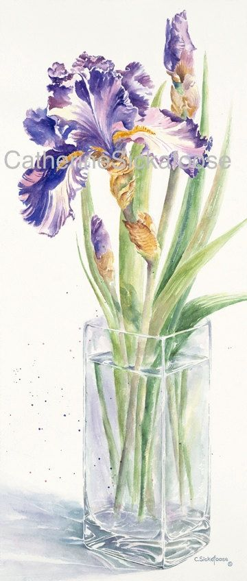 Purple Iris Glass Vase Watercolor Painting Fine Art Limited