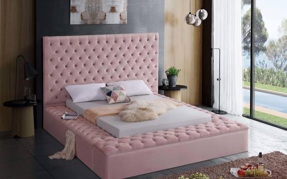 Bliss Pink Queen Size Bed Bed, Pink bedroom for girls