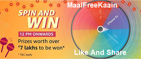 AmazonSpinAndWin an iPhoneXS And Rs 7 Lakh Prizes
