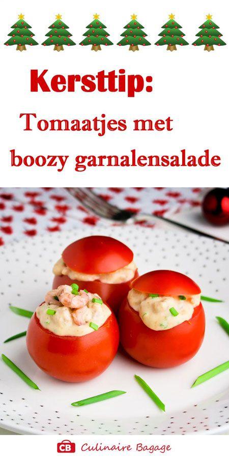 Kersttip: tomaatjes met boozy garnalensalade! #koudehapjes