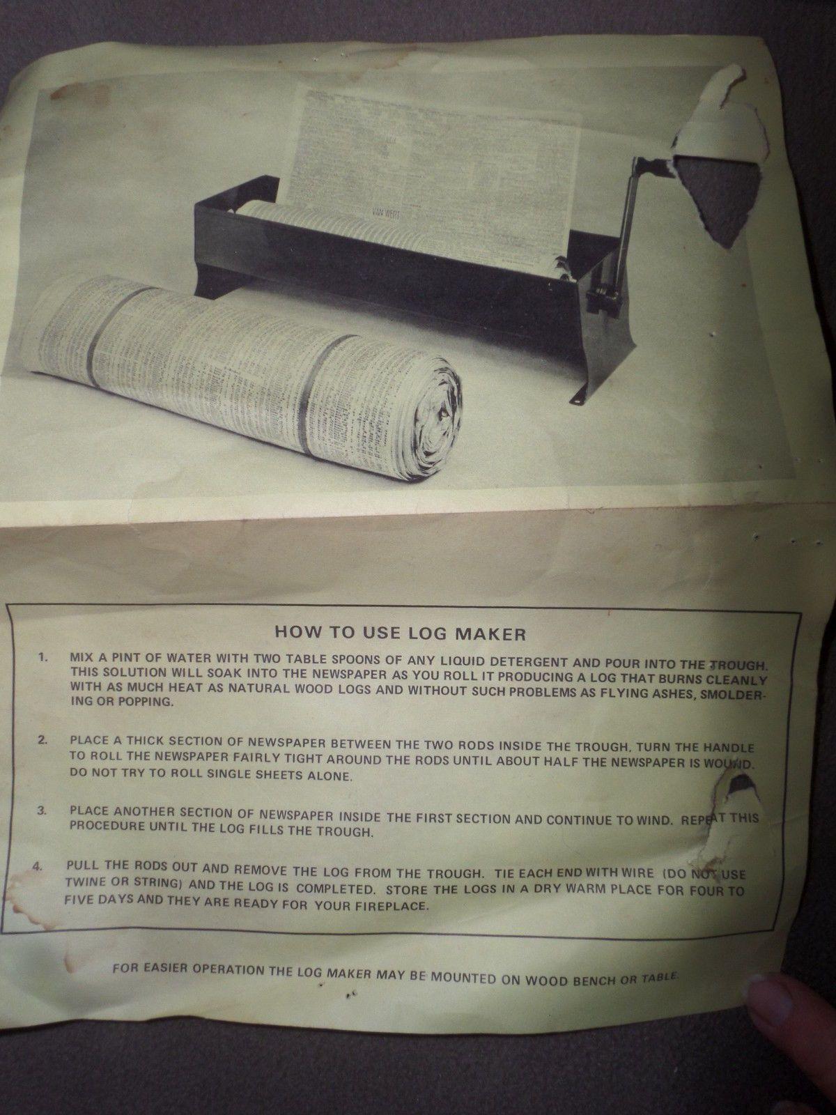 Vintage Red Newspaper Log Roller Paper Fireplace Starter Campfire