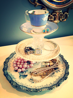 DIY jewelry holder stand from vintage china and crystal under 10