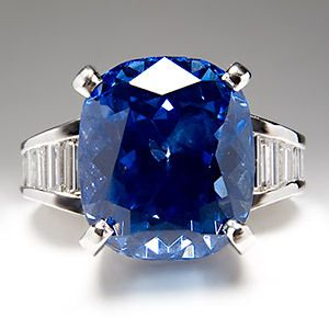 11 Carat Gia No Heat Blue Sapphire Diamond Engagement Ring Platinum Mr Baguette Ebay Gioielli Zaffiro Argento