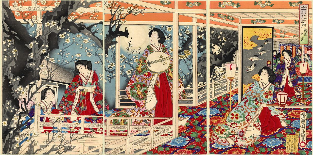 Chikanobu (Triptych). An evening party: full moon over a plum orchard.