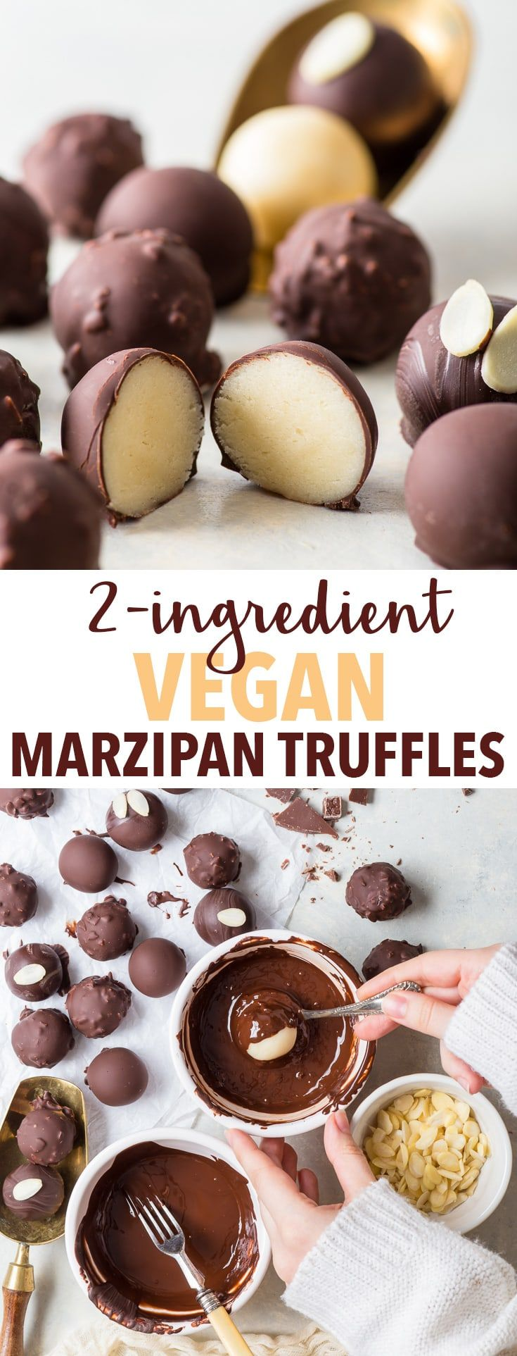 2-Ingredient Vegan Marzipan Truffles (Gluten Free, Dairy Free, Vegan) - 5 minutes is all it takes to make these delicious vegan marzipan truffles. With only two ingredients, they couldn't be easier to prepare – but don't let the simplicity fool you. These bite-sized sweet treats pack a helluva flavour punch. Easy dessert recipes. Candy recipes. Quick dessert ideas. Vegan dessert recipes. Chocolate recipes. Chocolate truffle recipes. DIY gift ideas. #chocolate #marzipan #dairyfree