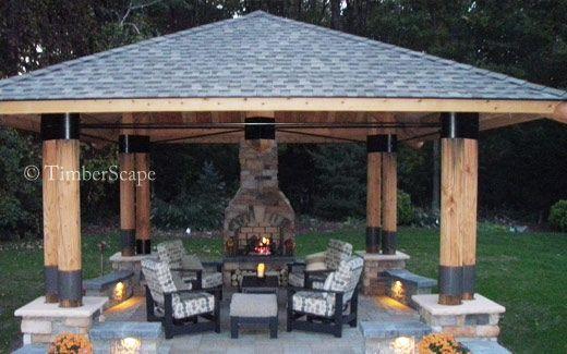 Custom Bungalow Gazebo Plans Outdoor Gazebos Gazebo With Fire Pit