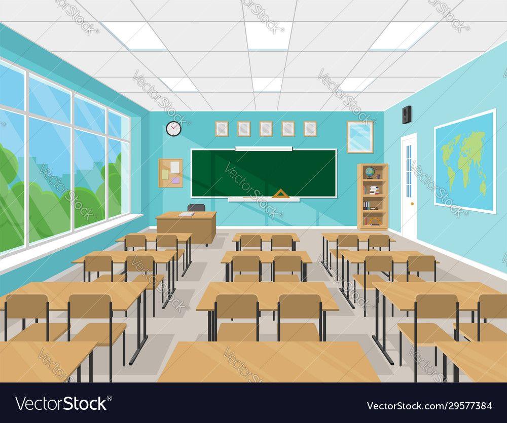 Empty School Classroom Interior With Chalkboard Teachers Table Desks And Chairs School Supplies Educati Classroom Interior School Classroom School Interior