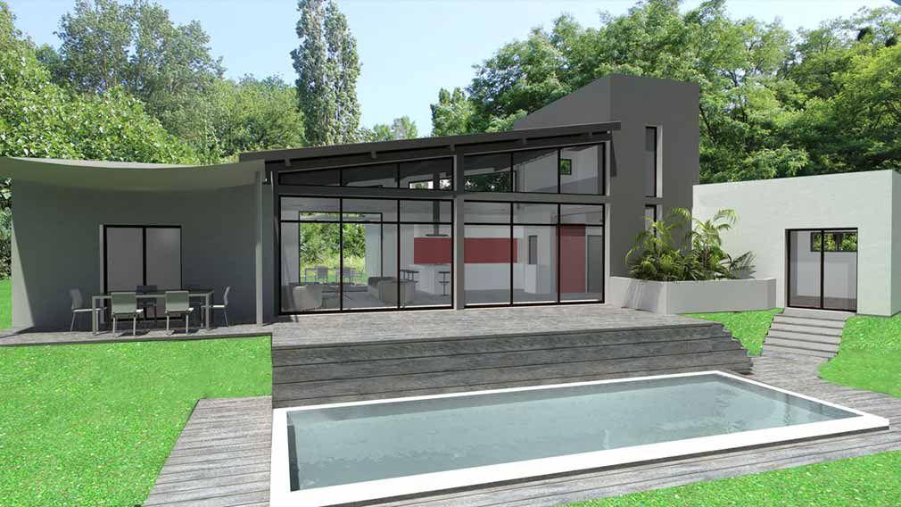 maison contemporaine traversante toit zinc et charpente apparente ...
