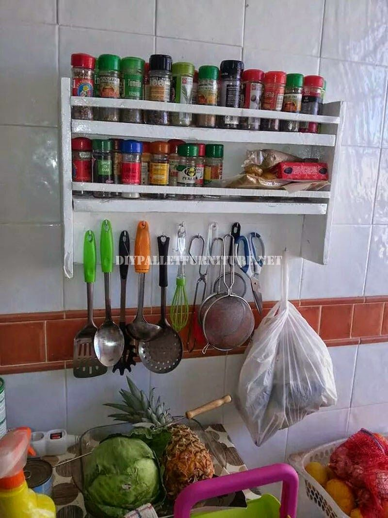 Muebles de palets: Estantería para las especias de la cocina con ...
