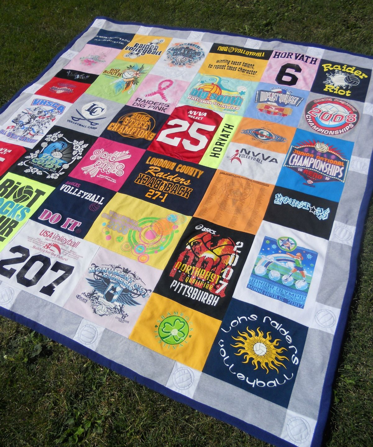 33 Volleyball T Shirts And Jerseys To Make A Full Size 86 X 86 T Shirt Volleyball Quilt For A Customer In Va Dig Pink Voll Shirt Quilt Jersey Quilt Quilts