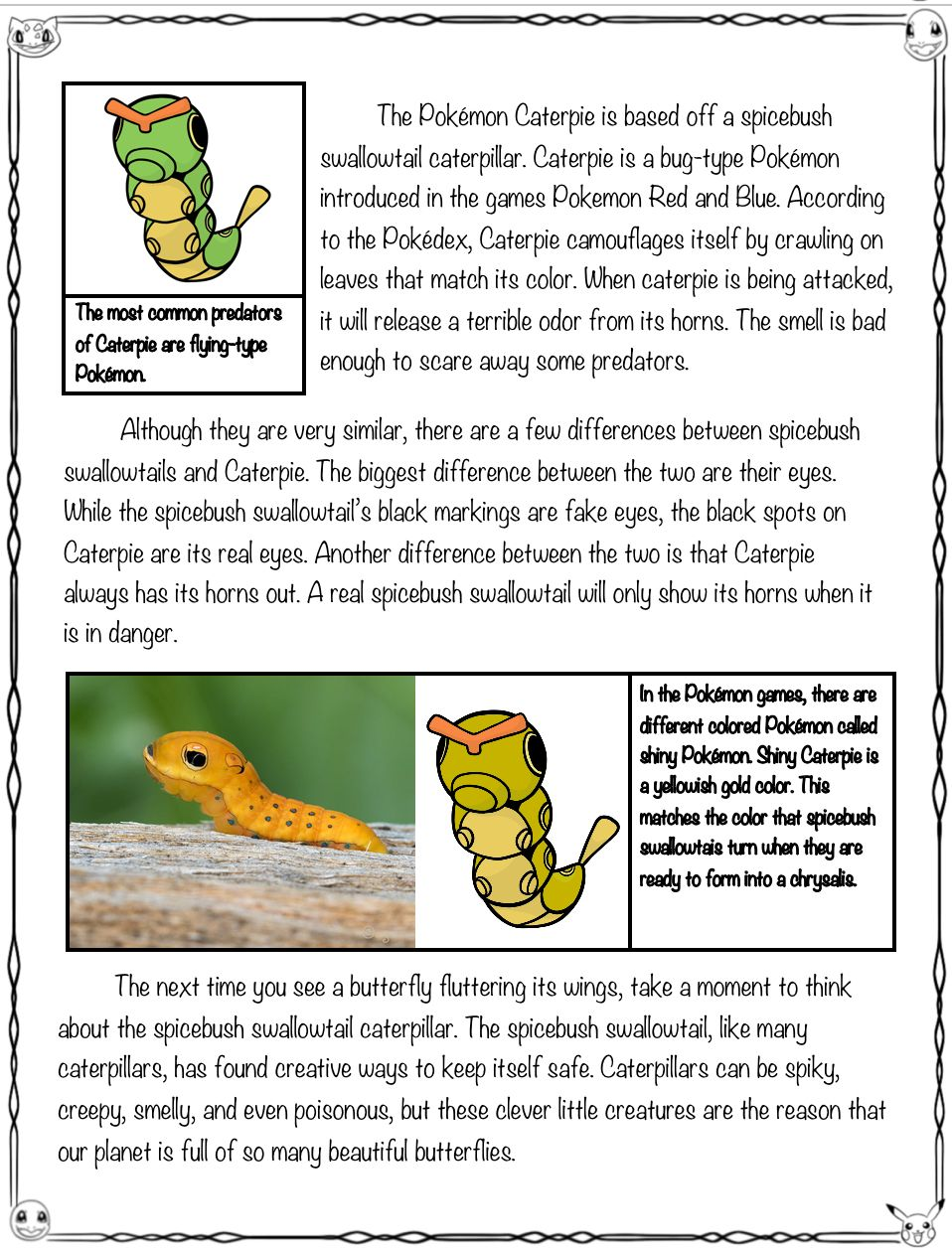 Pokemon Close Read And Worksheets Activities Spicebush Swallowtail And Caterpie Reading Passages Close Reading Passages Close Reading [ 1256 x 958 Pixel ]