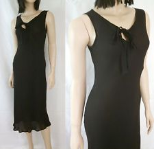 DRIES VAN NOTEN Black SILK BIAS CUT OUT Bow Neckline LONG Dress Sz S 36 NO RES!
